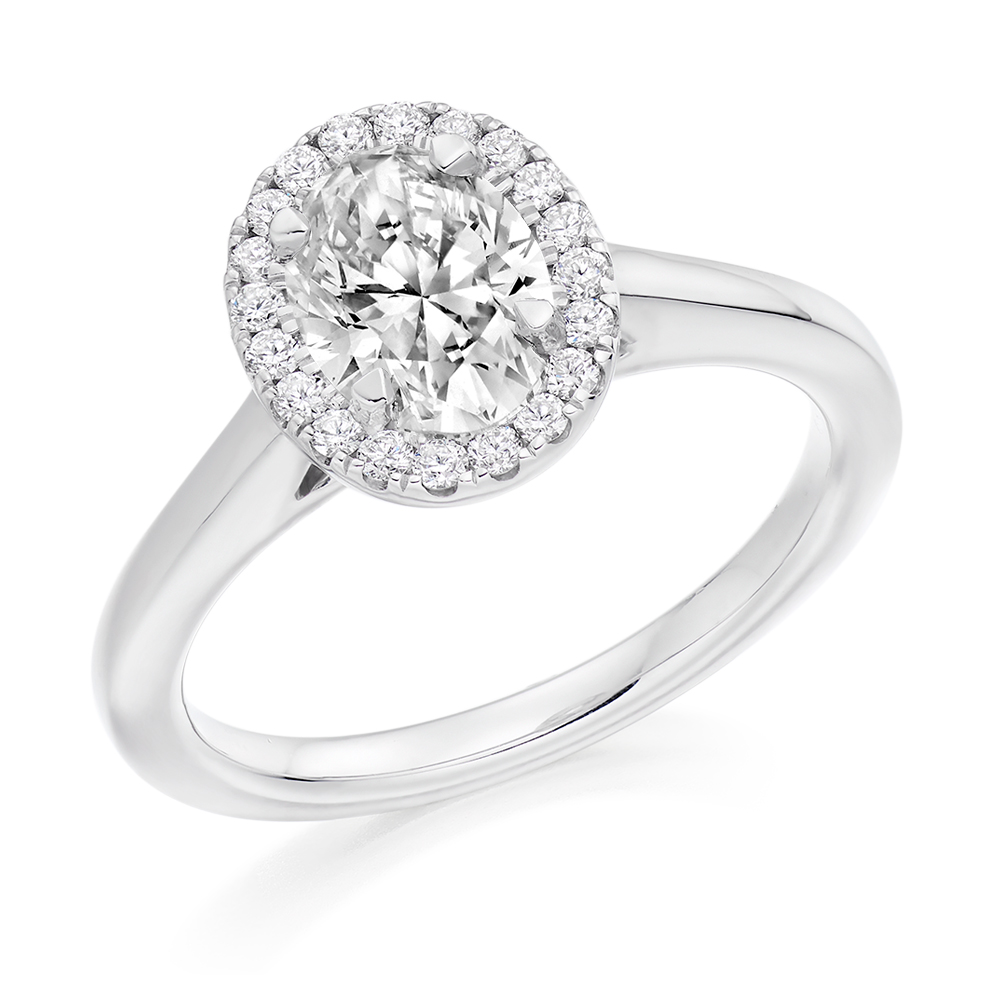 Oval Cut Halo Engagement Ring 1.25ct - Home Try-On (€9,500)