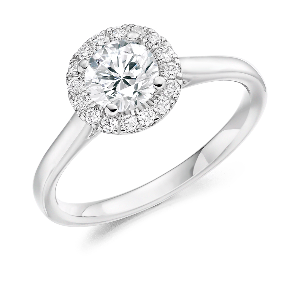 Round Brilliant Cut Halo Engagement Ring 0.75ct - Home Try-On (€6,550)