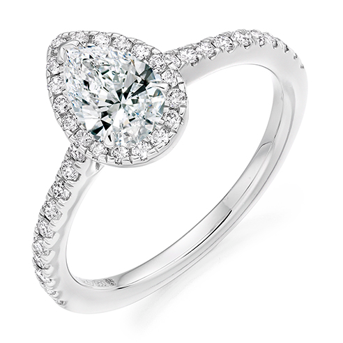 Pear Cut Halo Engagement Ring 0.50ct - Home Try-On (€4,200)