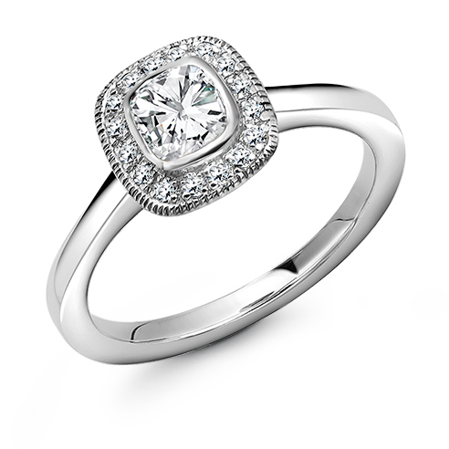 Cushion Cut Halo Engagement Ring 0.35ct - Home Try-On