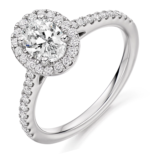 Oval Cut Halo Engagement Ring 0.75ct - Home Try-On (€7,350)