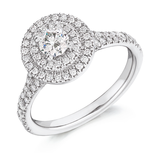 Round Brilliant Cut Double Halo Engagement Ring 0.33ct - Home Try-On (€3,950)
