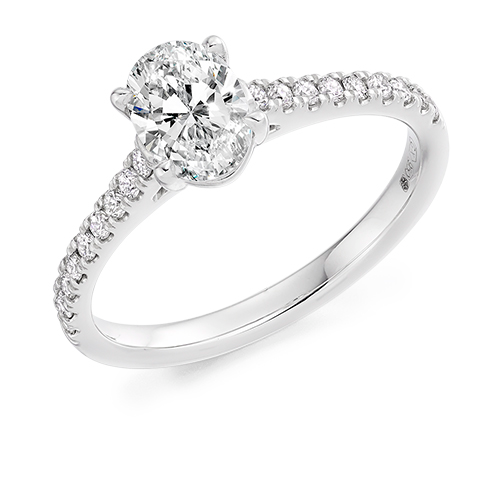 Oval Solitaire Engagement Ring 1.00ct - Home Try-On
