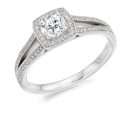 Round Brilliant Cut Halo Engagement Ring 0.33ct - Home Try-On (€2,850)
