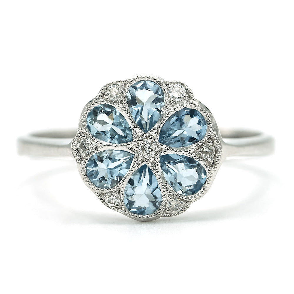9ct White Gold Aquamarine and Diamond Ring