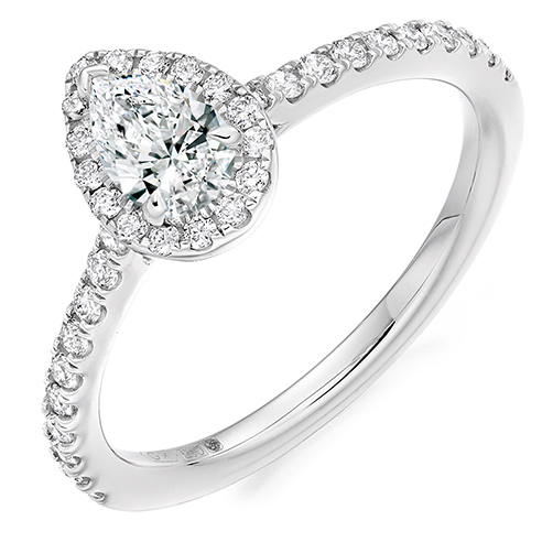 Pear Cut Halo Engagement Ring 0.33ct - Home Try-On (€2,770)