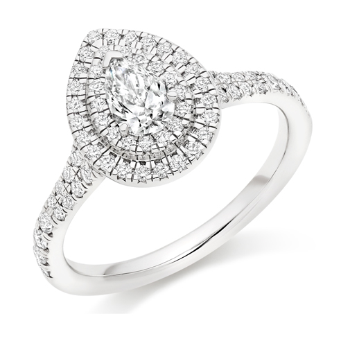 Pear Cut Double Halo Engagement Ring 0.33ct - Home Try-On (€3,350)