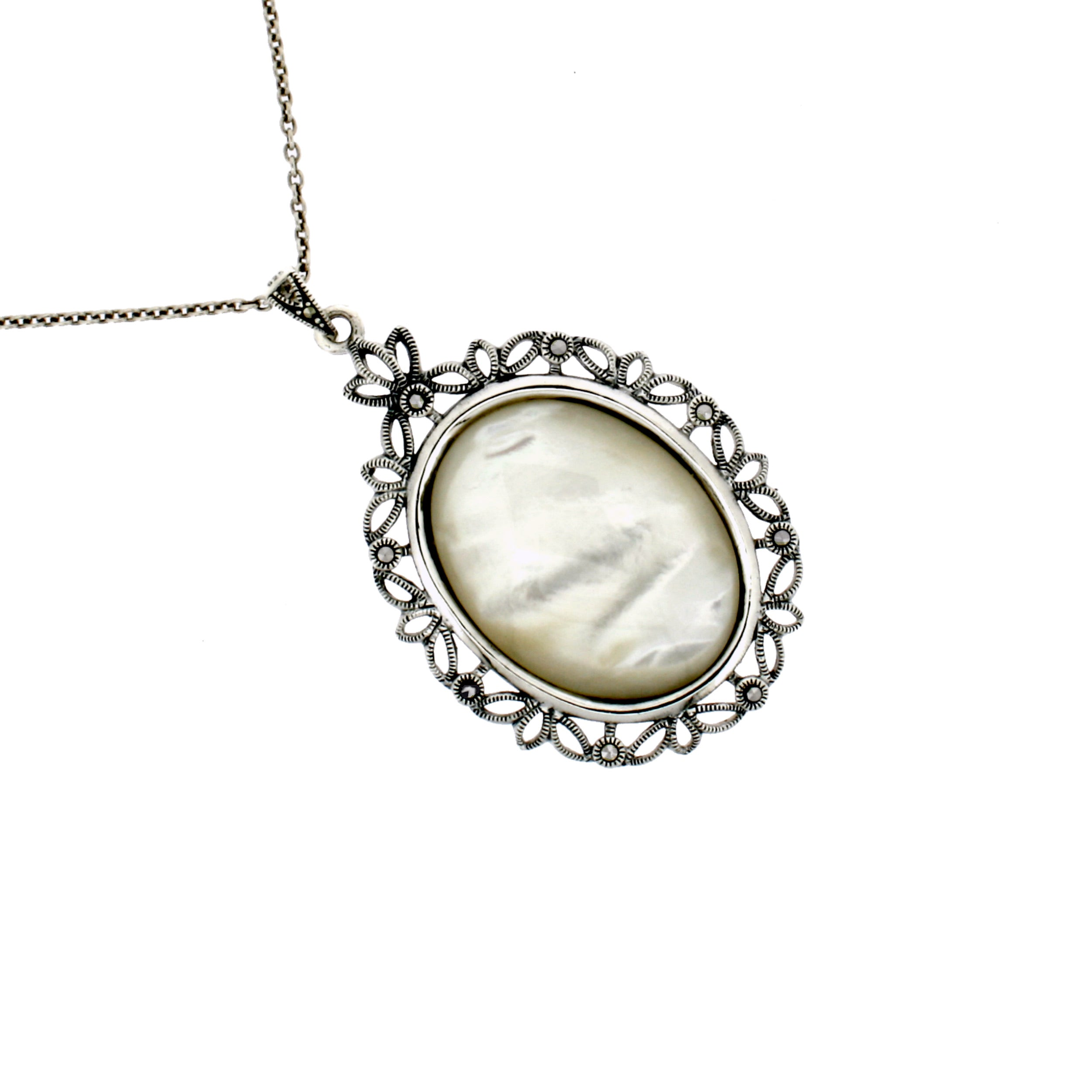 Mother of Pearl Marcasite Necklace
