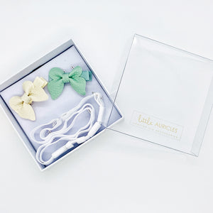 Hearing Aid Headbands - Green & Cream