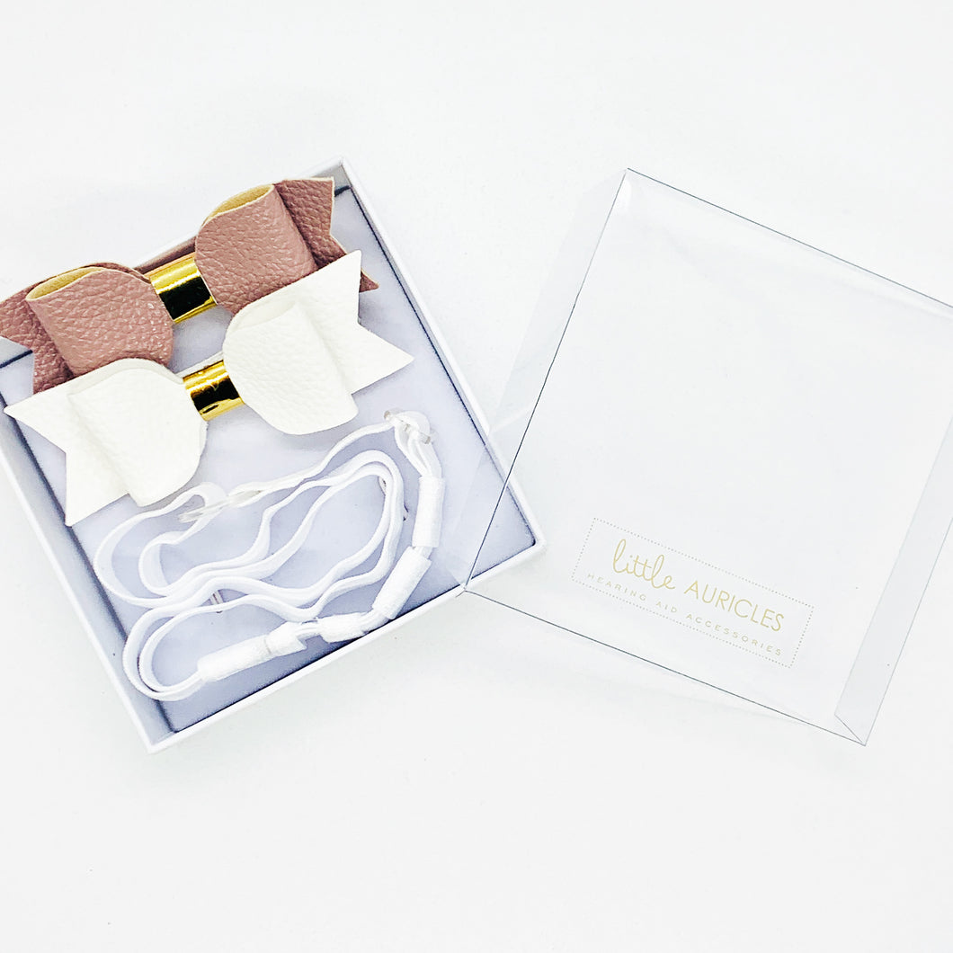 Hearing Aid Headbands - Peach & White