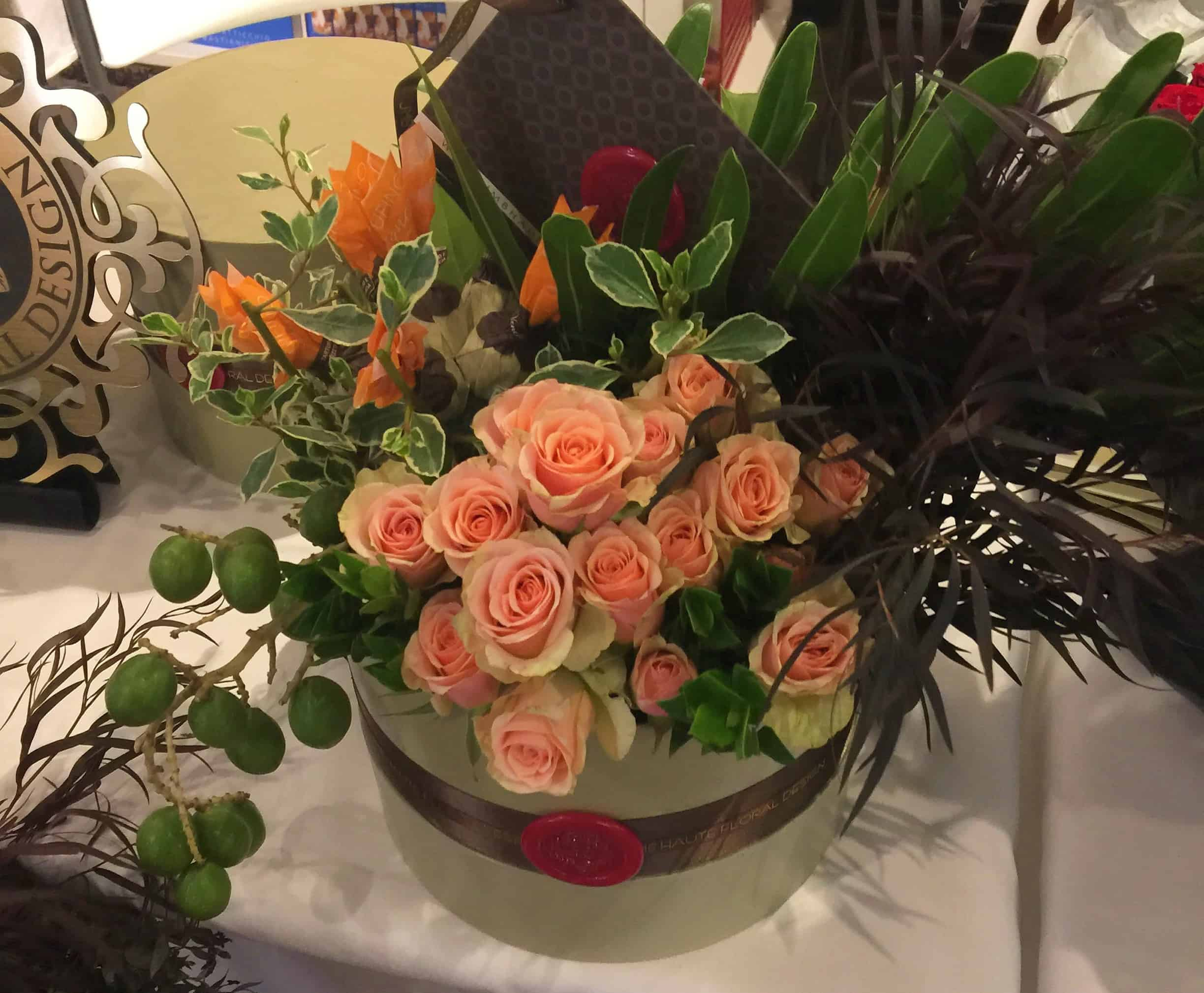 Fresh and handpicked roses and seasonal foliage