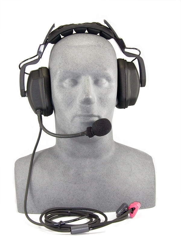 Headset, deluxe with boom mic. Set up for STX-101/M/SB surface transceiver.