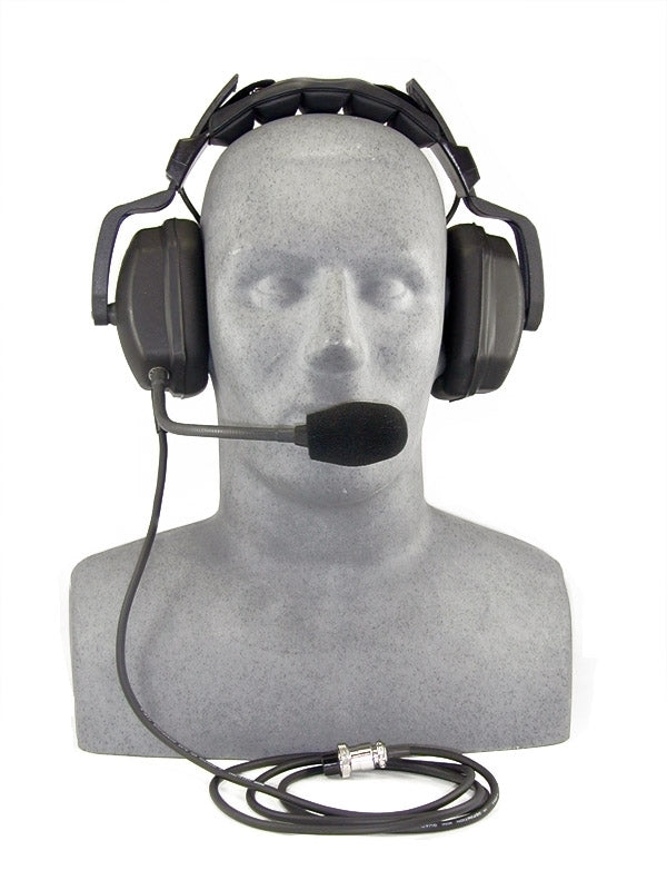 Headset, deluxe with boom mic. For use with SP-100D or modified SP-100