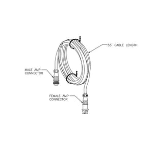 Transducer cable, 55' w/AMP con. Transducer extension cable.