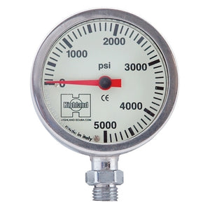 Highland Brass and Glass Pressure Gauge 2""