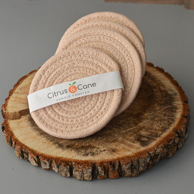 Sand Dollar Pink Braided Candle Coaster - Citrus & Cane LLC
