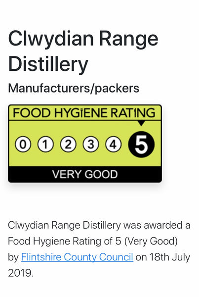 Clwydian Range Distillery Ltd Awarded 5 Star Food Hygiene Rating