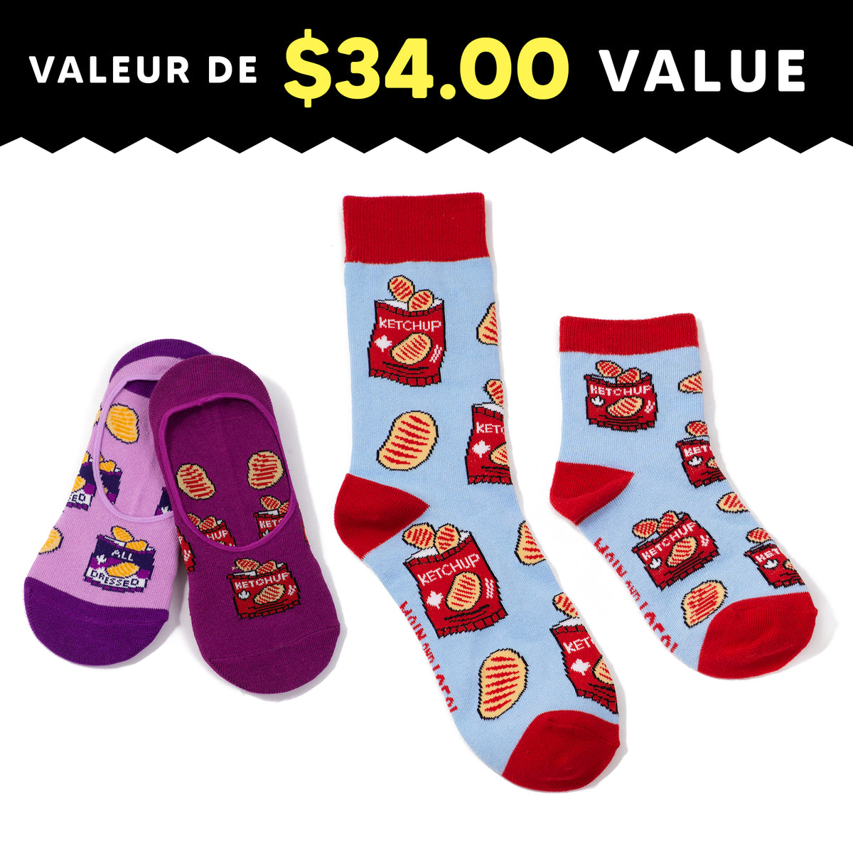 Fam Jam Ketchup Chips Socks Pack