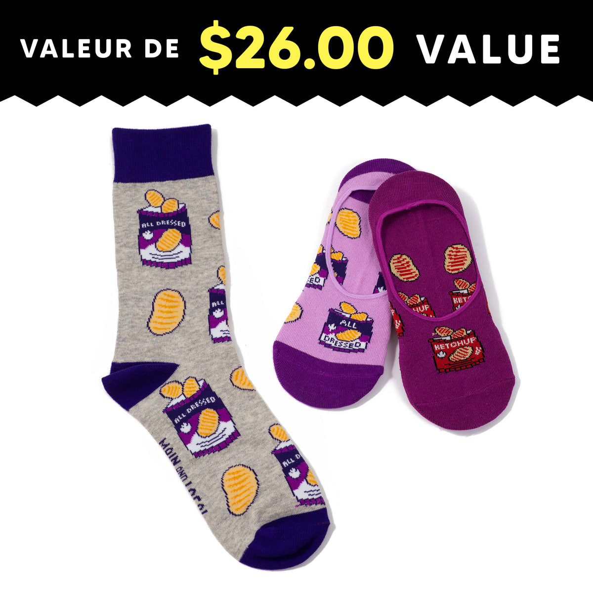 Matchmaker All Dressed Chips Socks Pack