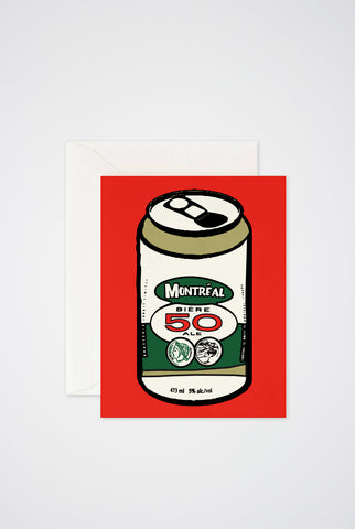 Montreal  Beer Can Greeting Card - Main and Local