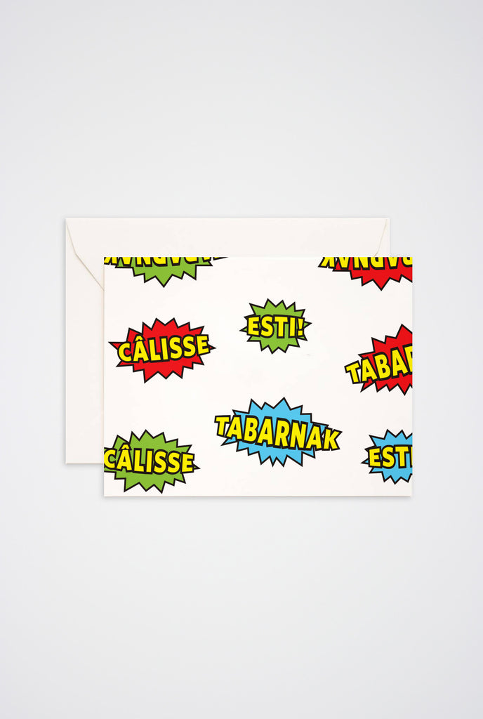 Tabarnak, Esti, Calisse Greeting Card - Main and Local