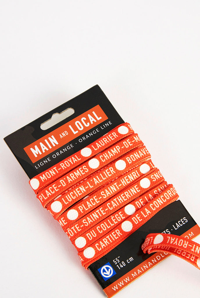 Montreal Metro Line Shoelaces - Main and Local