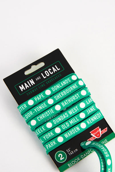 Toronto TTC Subway Shoelaces - Main and Local