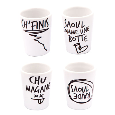 Quebec Slang Shot Glasses - Main and Local