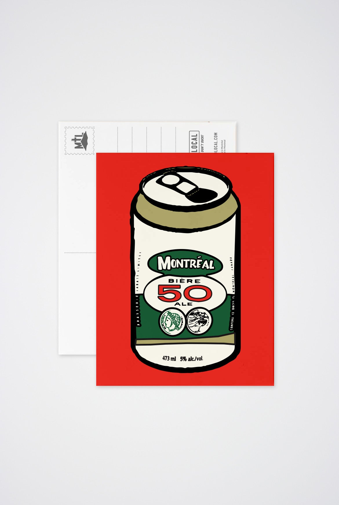 Montreal  Beer Can Post Card - Main and Local