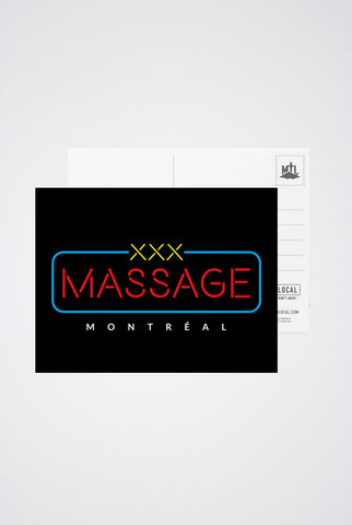 Montreal XXX Massage Post Card - Main and Local