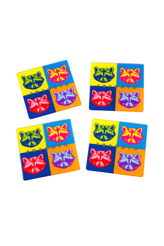 Toronto Raccoon Pop Art Coasters - Main and Local
