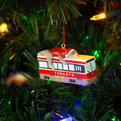 Toronto Raccoon Streetcar Ornament - Main and Local