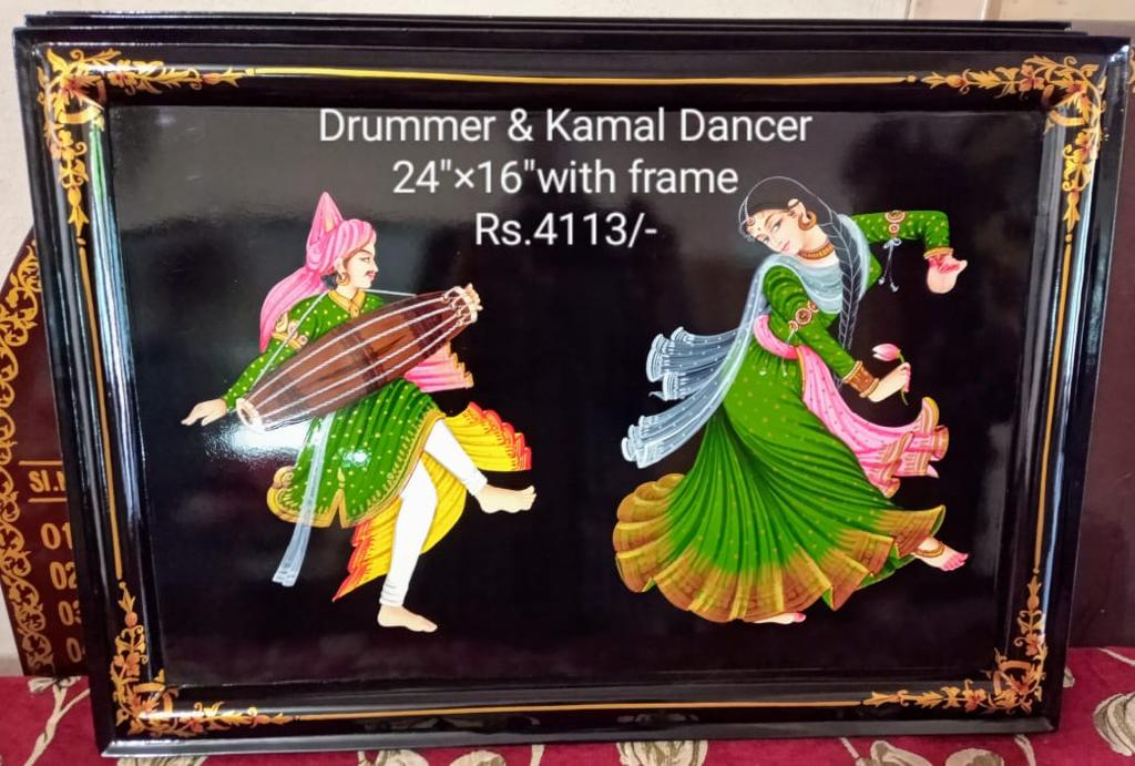 NIRMAL PAINTING DRUMMER AND KAMAL DANCER WITH FRAME 24X16