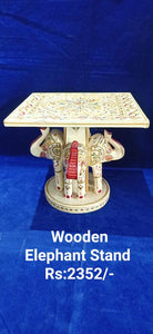 WOODEN PAINTED ELEPHANT STAND