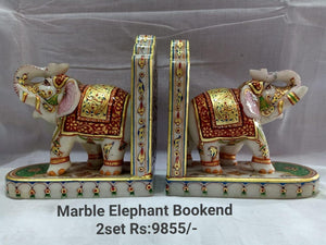 MARBLE ELEPHANT BOOK END SET