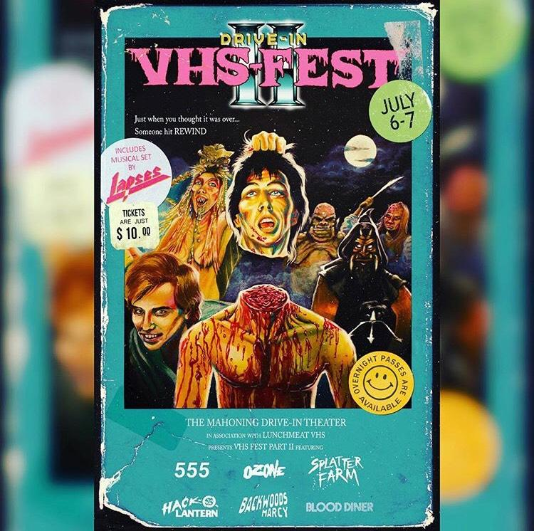 Mahoning Drive-In Theater and Lunchmeat VHS Proudly Present DRIVE-IN VHS FEST II on July 6th and 7th 2018! Poster Art Revealed! PLUS! TICKET INFO AND EVENT DETAILS!