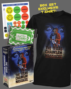 FRIGHT RAGS to Unleash VIDEO SERIES T-SHIRT BOX SET Celebrating THE TEXAS CHAIN SAW MASSACRE VHS Cover Art by Richard Hescox!