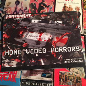 LUNCHMEAT Proudly Presents HOME VIDEO HORRORS: A 2017 Calendar Tribute to Horror VHS Cover Art Featuring the Photography of Jacky Lawrence! Limited to 50 Copies! AVAILABLE NOW!