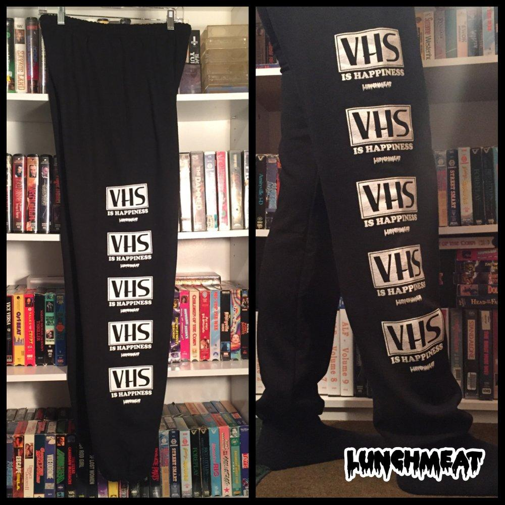VHS IS HAPPINESS Sweatpants ARE BACK!  Available NOW Along with Even More Radical LUNCHMEAT Apparel via an Exclusive Collaboration with MEDIA CRYPT!!
