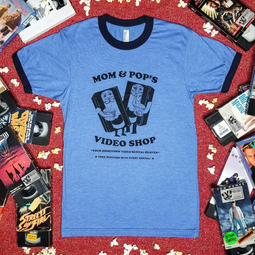 LUNCHMEAT and DISCOUNT CEMETERY Celebrate the Spirit of Hometown Indie Video Stores with MOM AND POP'S VIDEO SHOP Apparel Collection!