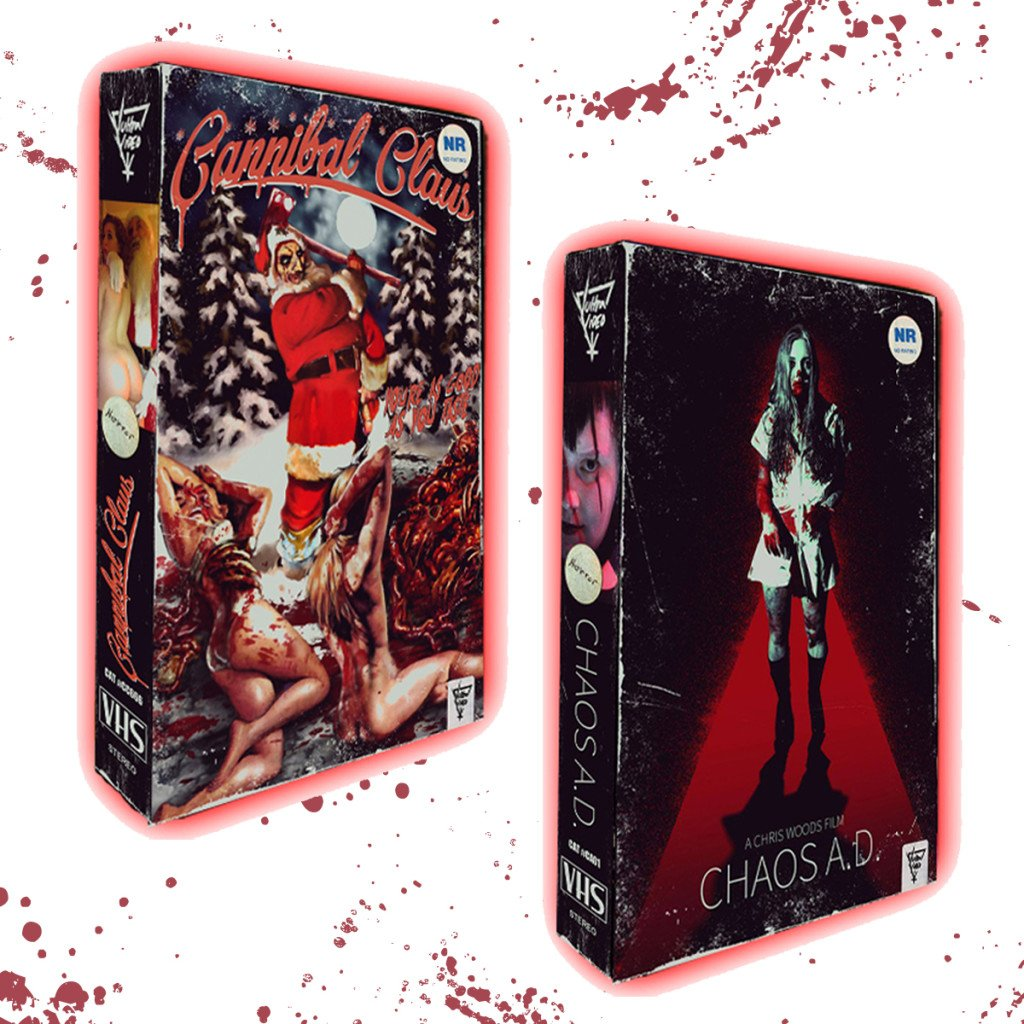 THE SLEAZE BOX and VULTRA VIDEO Bring CHAOS A. D. and CANNIBAL CLAUS to Fresh VHS!