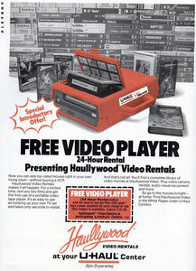 U-Haul Home Video / VCR Rentals?! They Existed, and We Got Proof! Check out the Haullywood Portable VCR Coupon!!