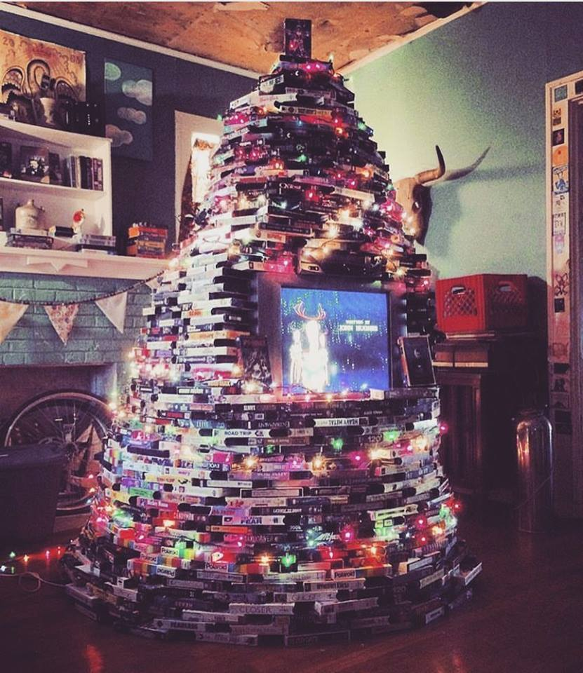 Fellow Videovore Dacoda Montana Creates Christmas Tree Made Entirely Out of VHS Tapes! Behold THE TAPE TREE!