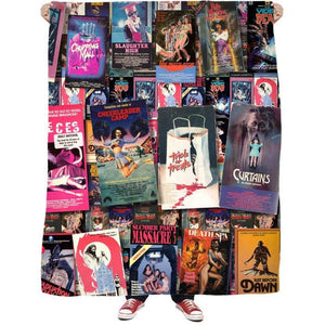 Keep the Videovore in Your Life Warm This Holiday VHSeason with the 80s Horror VHS Explosion Fleece Blanket!