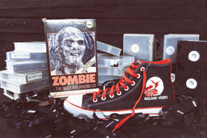 Artist Joe La Scola Creates Custom-Painted Chuck Taylors Celebrating Wizard Video, Vestron Video and More! Click for Info on How to Score Yourself a Pair, Videovores!