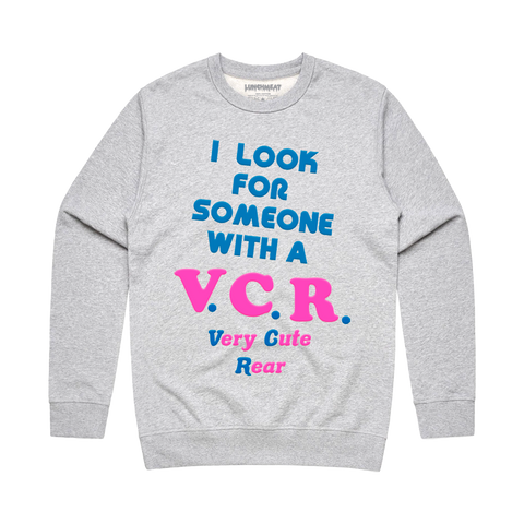 Very Cute Rear Crewneck Sweatshirt - Heather Grey