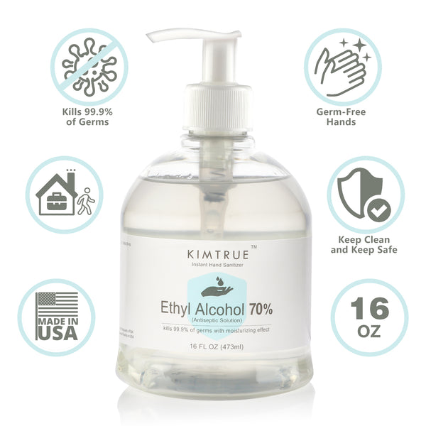 Kimtrue Antibacterial Hand Sanitizer 70% Alcohol Gel with Moisturizing Aloe (16 oz), Made in USA