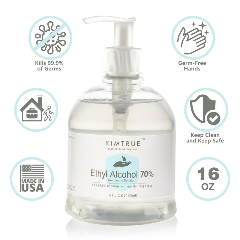 Kimtrue Antibacterial Hand Sanitizer 70% Alcohol Gel with Moisturizing Aloe (16 oz), Made in USA, 12 pcs Pack