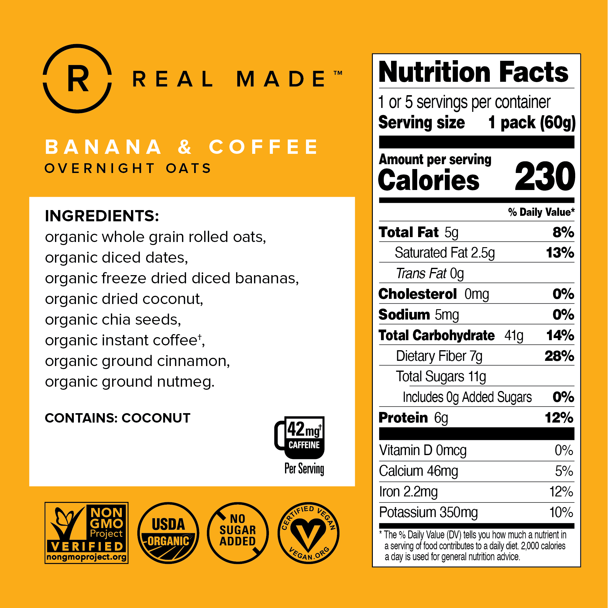 Banana & Coffee Nutritional Information