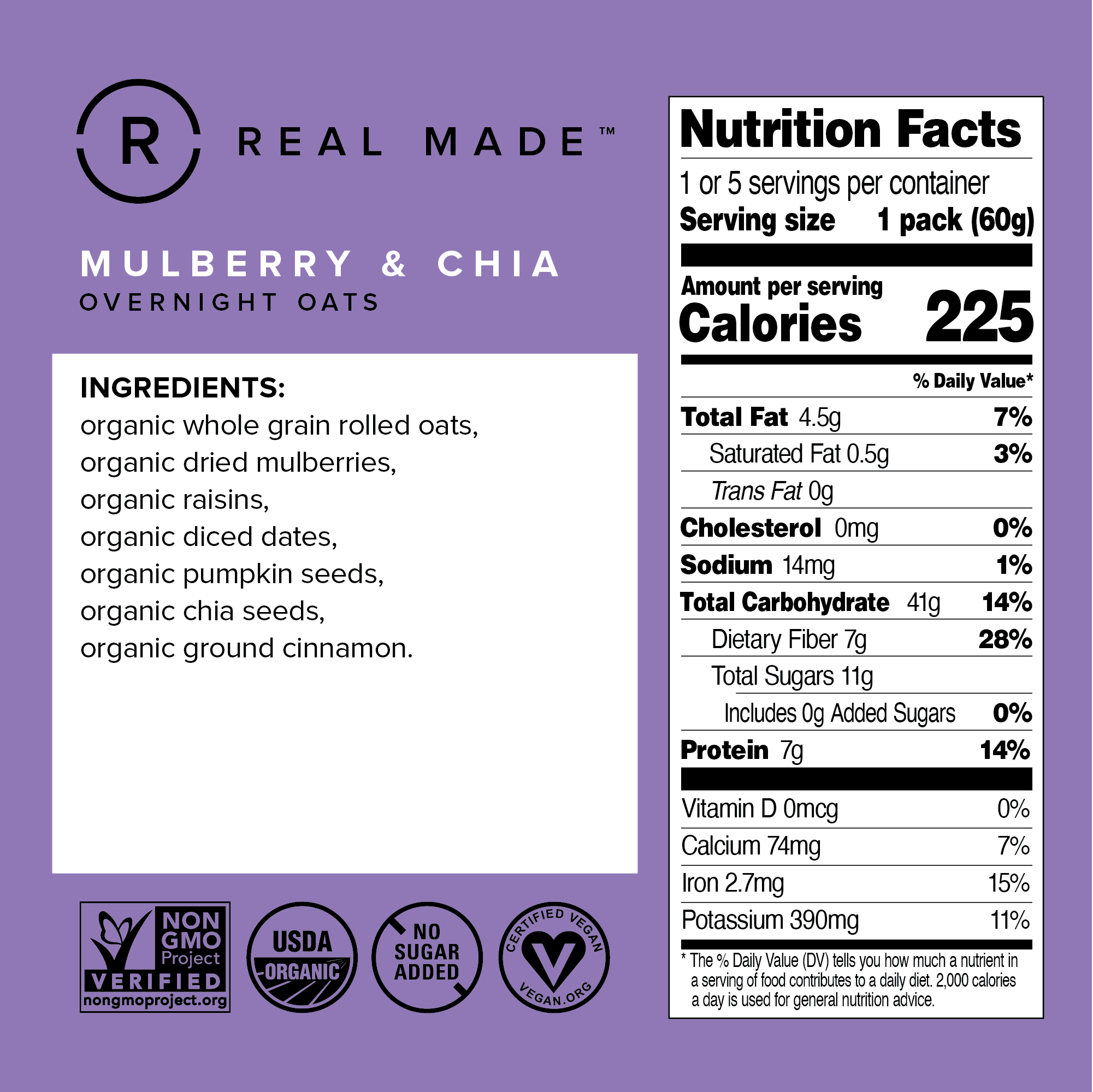 Mulberry & Chia Nutritional Information